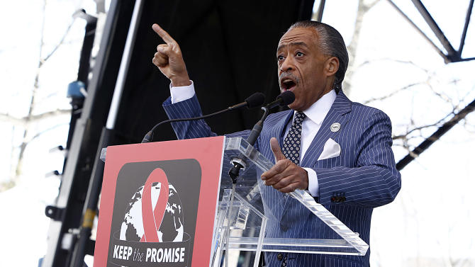 "IMAGE DISTRIBUTED FOR AIDS HEALTHCARE FOUNDATION - Reverend Al Sharpton speaks at the AIDS Healthcare Foundation's ""Keep The Promise On AIDS"" March and Rally on Saturday, April 6, 2013, in New York. The ""Keep the Promise"" campaign brings together advocates along with entertainers and spiritual and political leaders to remind elected officials that the fight against HIV/AIDS is not yet won. (Brian Ach /AP Images for AIDS Healthcare Foundation)"