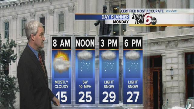 Light snow expected Monday