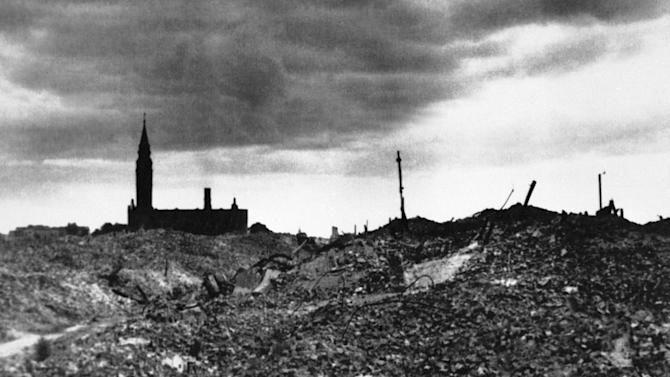 FILE - This 1943 file photo shows the rubble after the Warsaw ghetto was razed by German forces. (AP Photo, File)