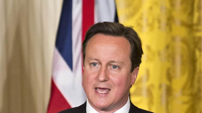 British Prime Minister David Cameron speaks during a joint news conference with President Barack Obama, Monday, May 13, 2013, in the East Room of the White House in Washington, where they talked about various subjects ranging from Syria's civil war to the IRS. (AP Photo/Jacquelyn Martin)