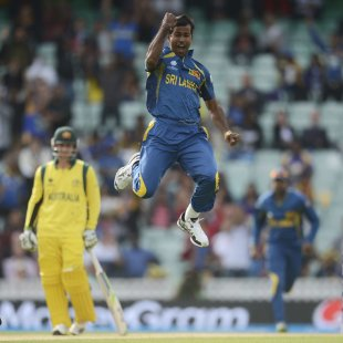 Sri Lanka's Nuwan Kulasekara leaps in celebration after dismissing Australia's Watson during the ICC Champions Trophy group A match at The Oval cricket ground, London