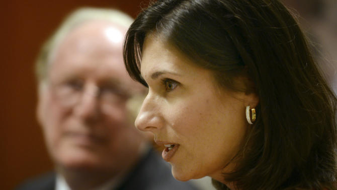National Transportation Safety Board chair Deborah Hersman speaks prior to testimony during a hearing on pipeline safety in Charleston, W.Va., Monday Jan.28, 2013.  Before the hearing, Rockefeller criticized the U.S. Office of Management of Budget for slowing down potential safety rules meant to respond to the Sissonville explosion and similar accidents. (AP Photo/Charleston Daily Mail, Tom Hindman)
