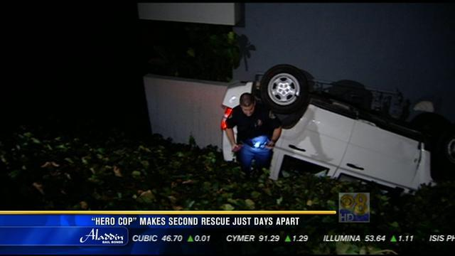 """""""Hero cop"""" makes second rescue just days apart"""