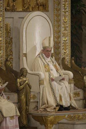Pope Francis presides over a Vespers ceremony at Rome's…