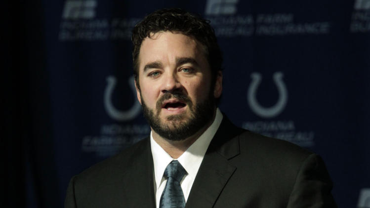 Jeff Saturday speaks at a news conference after signing a one day contract in order to retire as an Indianapolis Colt Thursday, March 7, 2013, in Indianapolis. Saturday spent 13 seasons in Indianapolis before signing with Green Bay last year. (AP Photo/AJ Mast)
