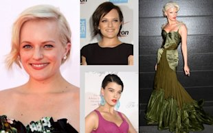 Hair Transformations: Elisabeth Moss and Crystal Renn. Photos by Keystone Press