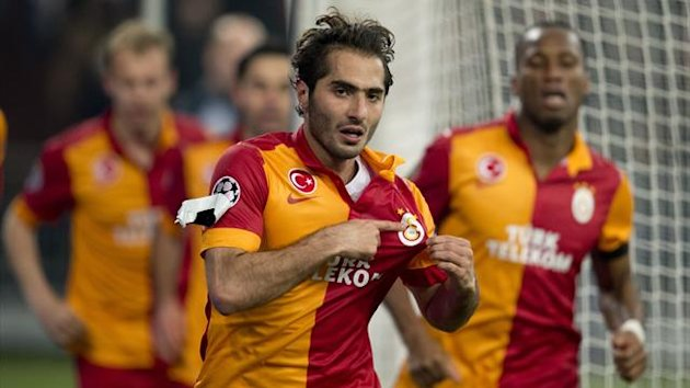 Galatasaray´s midfielder Hamit Altintop celebrates scoring during the UEFA Champions league football match Schalke 04 vs Galatasaray at the Veltins arena