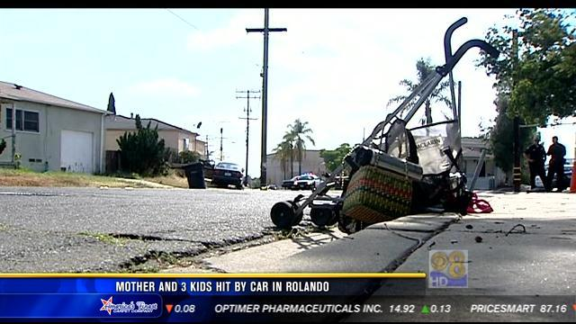 Mother, 3 children hit by car in Rolando