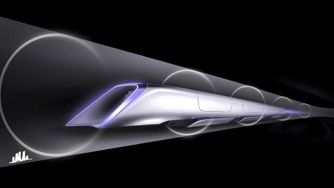 """An image released by Tesla Motors, is a conceptual design rendering of the Hyperloop passenger transport capsule. Billionaire entrepreneur Elon Musk on Monday, Aug. 12, 2013 unveiled a concept for a transport system he says would make the nearly 400-mile trip in half the time it takes an airplane. The """"Hyperloop"""" system would use a large tube with capsules inside that would float on air, traveling at over 700 miles per hour. (AP Photo/Tesla Motors)"""