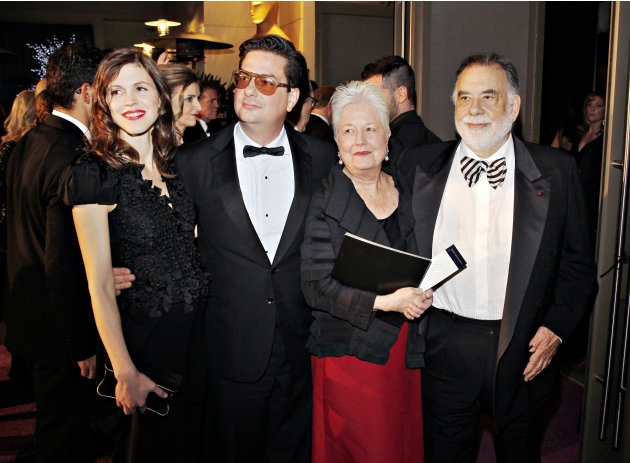 Jennifer Furches, Roman Coppola, Eleanor Coppola and director Francis Ford Coppola arrive at the Governors Ball for the 85th Academy Awards in Hollywood