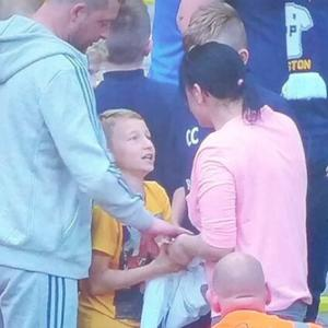 Mom swipes player's jersey from 8-year old fan