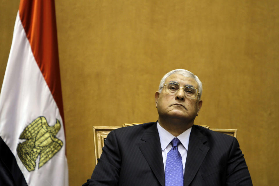 Egypt's chief justice Adly Mansour prepares to swear in as the nation's interim president Thursday, July 4, 2013. The chief justice of Egypt's Supreme Constitutional Court was sworn in Thursday as the nation's interim president, taking over hours after the military ousted the Islamist President Mohammed Morsi. (AP Photo/Amr Nabil)