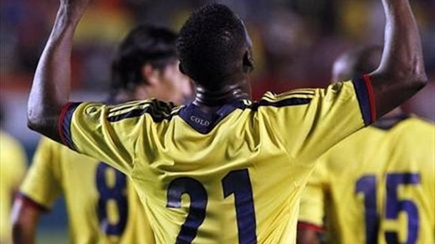 Colombia's Jackson Martinez celebrates his goal against Guatemala during their international friendly soccer match at Sun Life Stadium in Miami, Florida (Reuters)