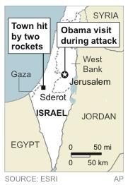 Map locates U.S. President Obama's Jerusalem visit when Palestinian militants in Gaza launched rockets into Sderot, Israel