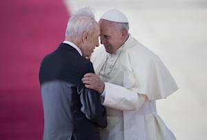 Pope Francis, right, talks with Israeli President Shimon …
