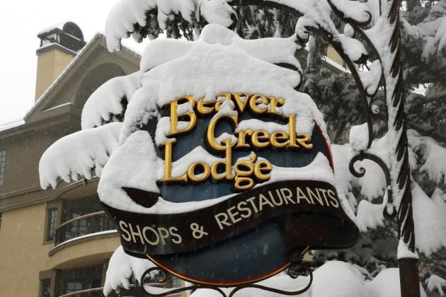 Fresh snow covers a sign in Beaver Creek
