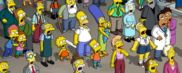 Lisa (voiced by Yeardley Smith ), Homer (voiced by Dan Castellaneta ), Bart (voiced by Nancy Cartwright ), Marge (voiced by Julie Kavner ), Maggie and citizens of Springfield in 20th Century Fox's The