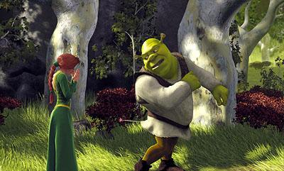 Princess Fiona ( Cameron Diaz ) is surprised to see where Shrek ( Mike Myers ) has been injured in Dreamworks' Shrek