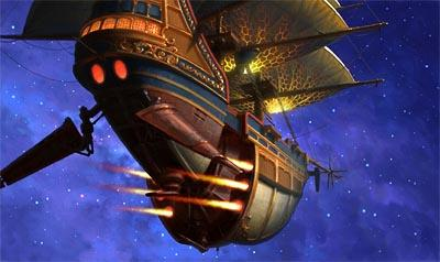 The ship rockets off in Disney's Treasure Planet