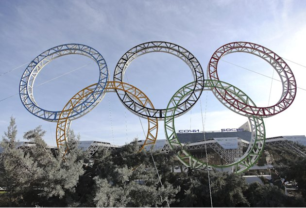 Olympic rings for the 2014 Winter Olympics are installed in the Black Sea resort of Sochi, southern Russia, late Tuesday, Sept. 25, 2012.  With the Winter Olympics a year away, IOC President Jacques R