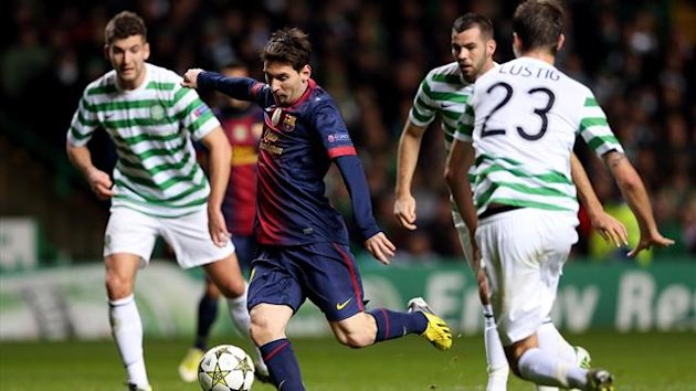 Barcelona's Lionel Messi against Celtic (AFP)