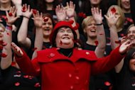 Singer Susan Boyle smiles as poppy's fall over her at a photocall during the launch of the Poppy Scotland appeal in Glasgow, Scotland October 24, 2012. REUTERS/David Moir/Files