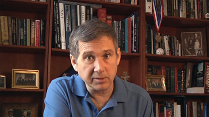 This photo taken from video provided Aug. 5, 2012 by Sen. Mark Kirk's office, shows Sen. Mark Kirk at his home in Fort Sheridan, Ill. Kirk is making excellent progress as he recovers from a stroke he suffered in January, according to medical experts not involved in his care who watched a video provided this week by the Illinois Republican's office. (AP Photo/Courtesy Sen. Mark Kirk's office)