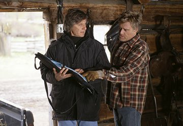 Director Lasse Hallstrom and Robert Redford on the set of Miramax Films' An Unfinished Life