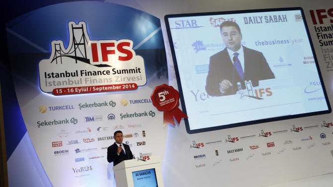 Turkey's Deputy Prime Minister Babacan makes a speech during the Istanbul Finance Summit in Istanbul