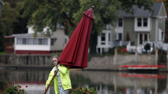 A girl whose family declined identification removes an umbrella from outdoor furniture set along the Schuylkill River in Philadelphia, Sunday, Oct. 28, 2012. Tens of millions of people in the eastern third of the United States in the path of a massive freak storm braced Sunday for the first raindrops that were expected later in the day, to be followed over the next few days by sheets of rain, high winds and even heavy snow. (AP Photo/Jacqueline Larma)