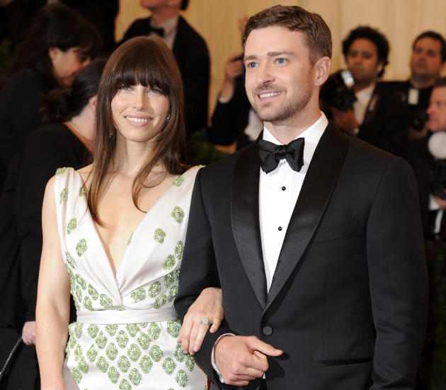 FILE - In this May 7, 2012, file photo, Jessica Biel and Justin Timberlake arrive at the Metropolitan Museum of Art Costume Institute gala benefit, celebrating Elsa Schiaparelli and Miuccia Prada in N