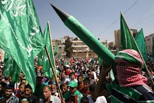 A Palestinian supporter of the Hamas Islamist movement …