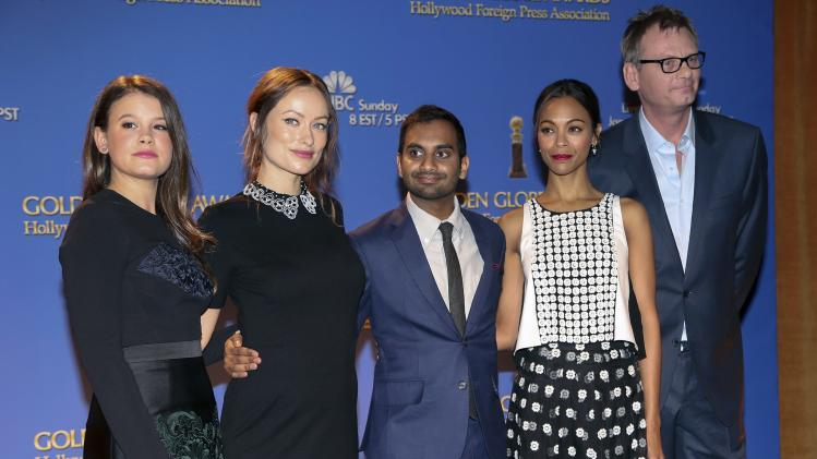Miss Golden Globe Sosie Bacon, actors Ansari, Saldana, Wilde, and Hollywood Foreign Press Association President Kingma pose at the announcement of nomi nations for the 71st annual Golden Globe Awards in Beverly Hills