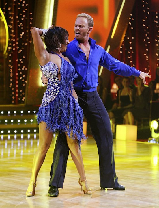 Professional dancer, Cheryl Burke and Ian Ziering perform their third dance in the 4th season of Dancing with the Stars.