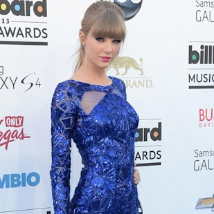 Taylor Swift gets leggy in blue Zuhair Murad at Billboard Music Awards