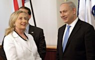 US Secretary of State Hillary Clinton (L) meets with Israeli Prime Minister Benjamin Netanyahu (R) at his office in Jerusalem. Clinton arrived in Israel late on Sunday at the tail end of a nine-nation tour, holding talks with top officials