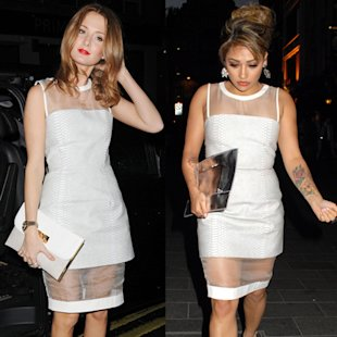 FASHION FIGHT: Millie Mackintosh v Vanessa White in sheer white dress