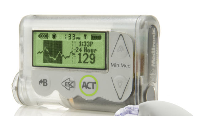 "This October 2012 image provided by Medtronic shows the MiniMed Integrated System device, which doctors are reporting as a major step toward an ""artificial pancreas."" The device that would constantly monitor blood sugar in people with diabetes and automatically supply insulin as needed. According to the company-sponsored study announced Saturday, June 22, 2013 at an American Diabetes Association conference in Chicago the device worked as intended in a three-month study of 247 patients. (AP Photo/Medtronic)"
