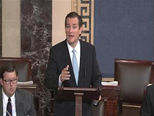Senate TV video grab shows U.S. Senator Cruz speaking on the Senate floor on Capitol Hill in Washington