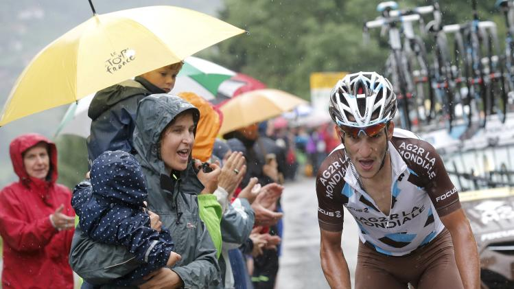 AG2R-La Mondiale team rider Kadri of France cycles to win the 161-km (100 miles) eighth stage of the Tour de France cycling race between Tomblaine and Gerardmer La Mauselain