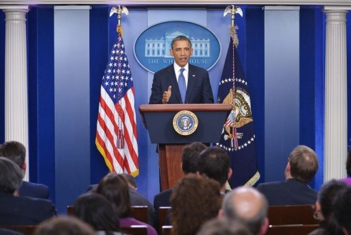 US President Barack Obama speaks following a meeting with congressional leaders in the White House on December 28, 2012 in Washington, DC. Obama enacted a law to counter Iran's alleged influence in Latin America, through a new diplomatic and political strategy to be designed by the State Department