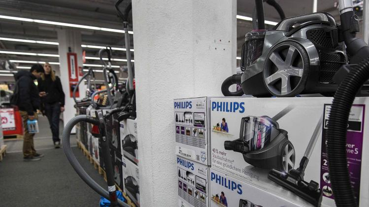 Philips vacuum cleaners are displayed in a household items store in Utrecht