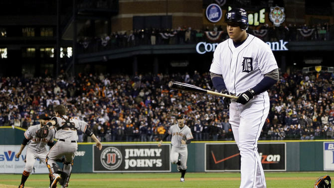 FILE - In this Oct. 28, 2012 file photo, Detroit Tigers' Miguel Cabrera walks away after striking out to end Game 4 of baseball's World Series against the San Francisco Giants in Detroit. Cabrera will be remembered for two things during the baseball season of 2012: Becoming baseball's first Triple Crown winner in 45 years, and striking out on an 89 mph, belt-high fastball to end the Giants' 4-3, title-clinching win. (AP Photo/Matt Slocum, File)
