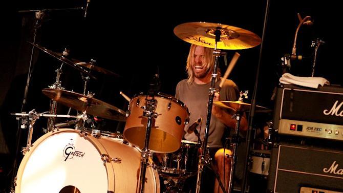 IMAGE DISTRIBUTED FOR PARK CITY LIVE - Taylor Hawkins, of The Foo Fighters performs with the Sound City Players at Park City Live Day 2 on Friday, January 18, 2013, in Park City, Utah. (Photo by Barry Brecheisen/Invision for Park City Live/AP Images)