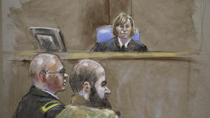 In this court room sketch, Judge Col. Tara Osborn, top, Maj. Nidal Malik Hasan, right, and defense attorney, Lt. Col. Kris Poppe, left, are shown, Wednesday, Aug. 21, 2013, in Fort Hood, Texas. Hasan rested his case Wednesday without calling any witnesses or testifying in his own defense. Hasan is accused of killing 13 people and wounding more than 30 others at the Texas military base in November 2009. (AP Photo/Brigitte Woosley)