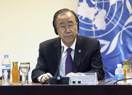 United Nations Secretary General Ban listens during a news conference with al-Jabouri, speaker of the Iraqi Council of Representatives, in Baghdad