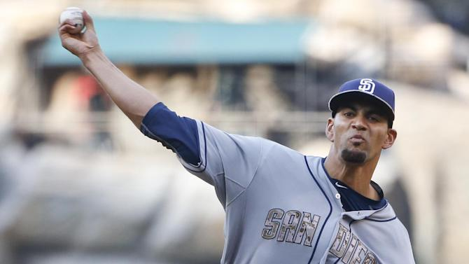 San Diego Padres starting pitcher Tyson Ross throws against the Los Angeles Angels in the first inning of a baseball game Monday, May 25, 2015, in Anaheim, Calif. (AP photo/Lenny Ignelzi)