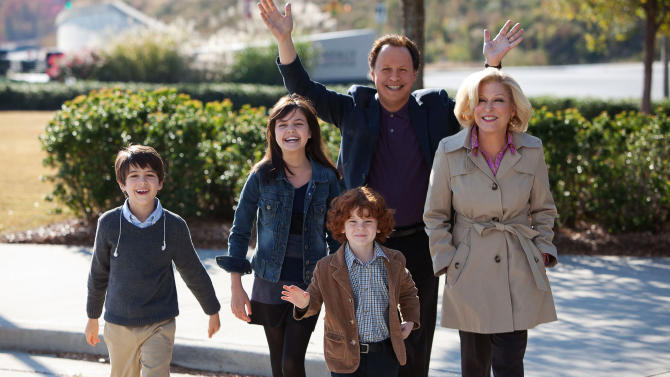 "FILE - This undated publicity file photo released by Twentieth Century Fox and Walden Media shows Billy Crystal as Artie and Bette Midler as Diane, who agree to babysit their three grandkids, from left, Joshua Rush as Turner, Bailee Madison as Harper and Kyle Harrison Breitkopf as Barker in a scene from the film, ""Parental Guidance.""  (AP Photo/Twentieth Century Fox/Walden Media, Kerry Hayes, File)"