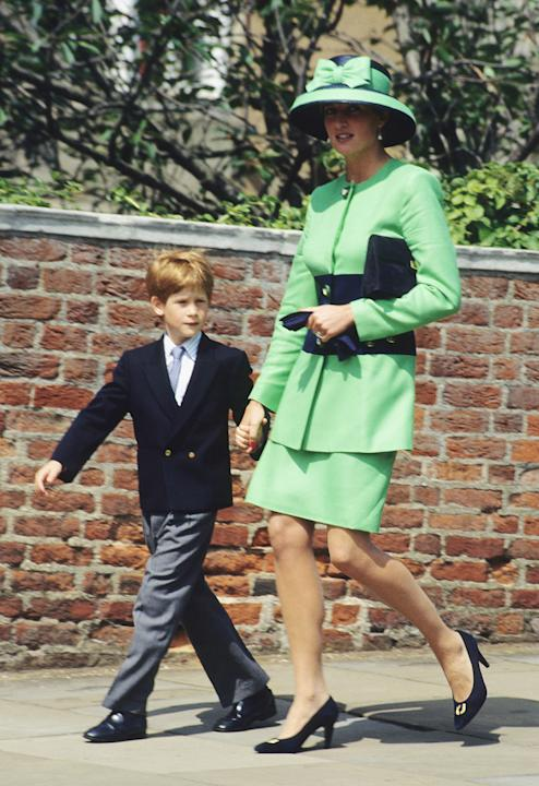 Harry, at 8, proudly accompanies his mom to Lady Helen Windsor's wedding