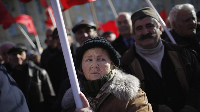People attend a rally to mark a birthday anniversary of Soviet dictator Josef Stalin at his hometown in Gori